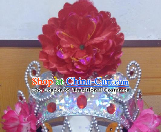 Traditional Ancient Chinese Classical Peking Opera Props, Opera Young Lady Headwear King Hat for Women