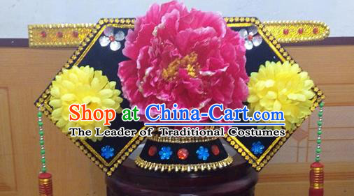Traditional Chinese Ancient Costume Qing Dynasty Manchu Princess Headdress Hat Headband Flag Head for Women