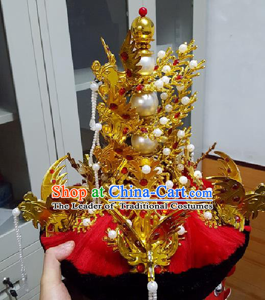 Traditional Chinese Ancient Costume Qing Dynasty Manchu Imperial Empress Wedding Headdress Phoenix Crown Headband Flag Head for Women
