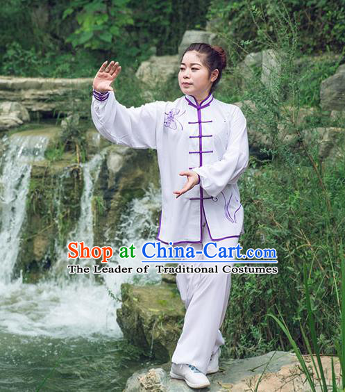 Traditional Chinese Top Silk Cotton Kung Fu Costume Martial Arts Kung Fu Training Long Sleeve Butterfly Uniform, Tang Suit Gongfu Shaolin Wushu Clothing, Tai Chi Taiji Teacher Suits Uniforms for Women