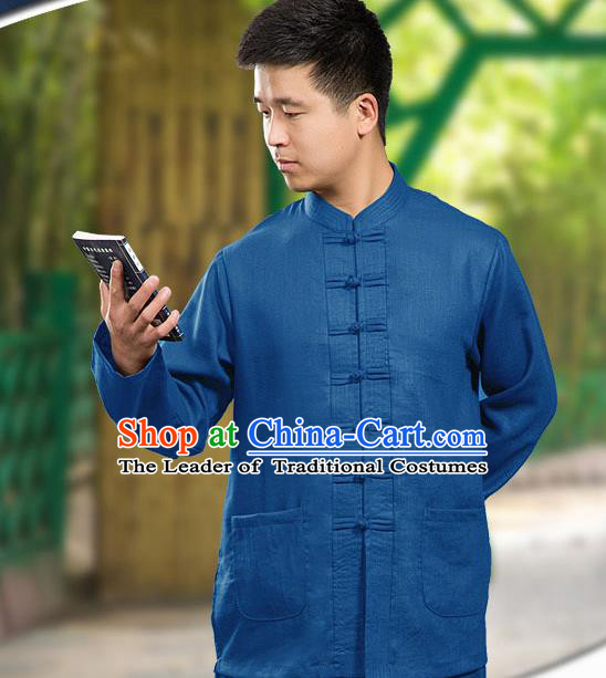 Traditional Chinese Top Linen Kung Fu Costume Martial Arts Kung Fu Training Long Sleeve Blue Uniform, Tang Suit Gongfu Shaolin Wushu Clothing, Tai Chi Taiji Teacher Suits Uniforms for Men