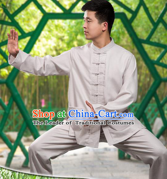 Traditional Chinese Top Linen Kung Fu Costume Martial Arts Kung Fu Training Long Sleeve Grey Uniform, Tang Suit Gongfu Shaolin Wushu Clothing, Tai Chi Taiji Teacher Suits Uniforms for Men