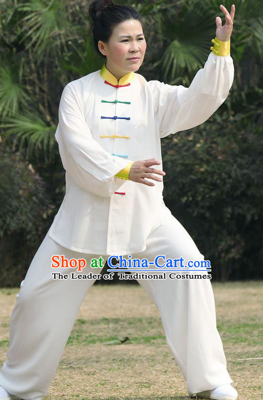Traditional Chinese Top Silk Cotton Kung Fu Costume Martial Arts Kung Fu Training Colorful Plated Buttons White Uniform, Tang Suit Gongfu Shaolin Wushu Clothing, Tai Chi Taiji Teacher Suits Uniforms for Women