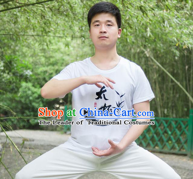 Traditional Chinese Top Silk Cotton Kung Fu Costume Martial Arts Kung Fu Training T-Shirt, Tang Suit Gongfu Shaolin Wushu Clothing, Tai Chi Taiji Teacher T-shirts for Men