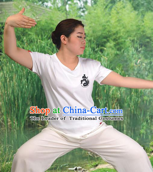 Traditional Chinese Top Cotton Kung Fu Costume Martial Arts Kung Fu Training Short Sleeve T-Shirt, Tang Suit Gongfu Shaolin Wushu Clothing, Tai Chi Taiji Teacher T-shirts for Women
