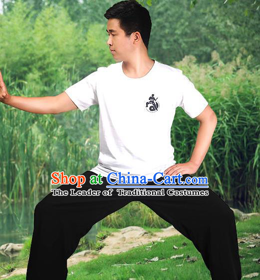 Traditional Chinese Top Cotton Kung Fu Costume Martial Arts Kung Fu Training Short Sleeve T-Shirt, Tang Suit Gongfu Shaolin Wushu Clothing, Tai Chi Taiji Teacher T-shirts for Men