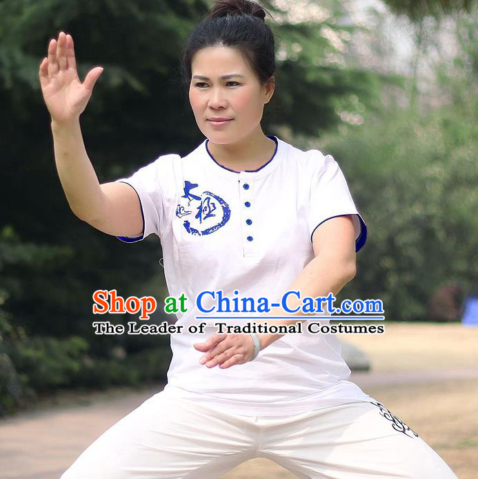 Traditional Chinese Top Cotton Kung Fu Costume Martial Arts Kung Fu Training Short Sleeve Blue Print T-Shirt, Tang Suit Gongfu Shaolin Wushu Clothing, Tai Chi Taiji Teacher T-shirts for Women