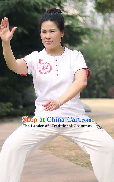Traditional Chinese Top Cotton Kung Fu Costume Martial Arts Kung Fu Training Short Sleeve Red Print T-Shirt, Tang Suit Gongfu Shaolin Wushu Clothing, Tai Chi Taiji Teacher T-shirts for Women