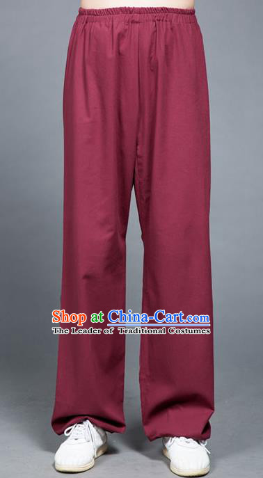 Traditional Chinese Top Linen Kung Fu Costume Martial Arts Kung Fu Training Purplish Red Pants, Tang Suit Gongfu Shaolin Wushu Plus Fours, Tai Chi Taiji Teacher Trousers for Women for Men