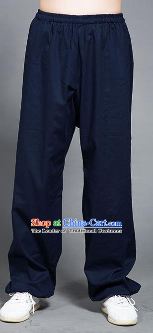 Traditional Chinese Top Linen Kung Fu Costume Martial Arts Kung Fu Training Navy Pants, Tang Suit Gongfu Shaolin Wushu Plus Fours, Tai Chi Taiji Teacher Trousers for Women for Men