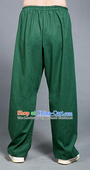 Traditional Chinese Top Linen Kung Fu Costume Martial Arts Kung Fu Training Green Pants, Tang Suit Gongfu Shaolin Wushu Plus Fours, Tai Chi Taiji Teacher Trousers for Women for Men
