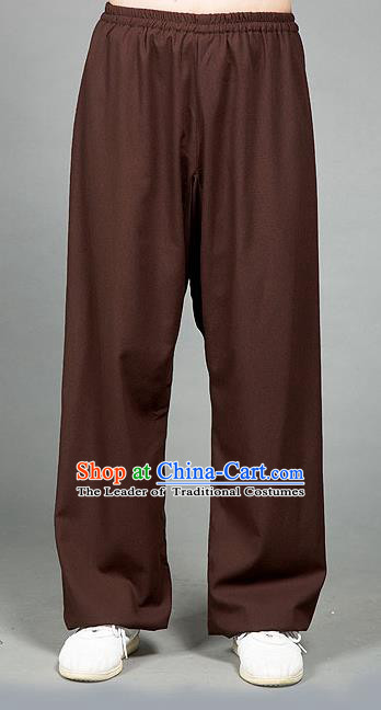 Traditional Chinese Top Linen Kung Fu Costume Martial Arts Kung Fu Training Brown Pants, Tang Suit Gongfu Shaolin Wushu Plus Fours, Tai Chi Taiji Teacher Trousers for Women for Men