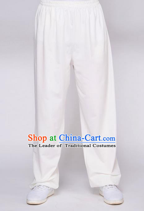 Traditional Chinese Top QMilch Kung Fu Costume Martial Arts Kung Fu Training White Pants, Tang Suit Gongfu Shaolin Wushu Plus Fours, Tai Chi Taiji Teacher Trousers for Women for Men