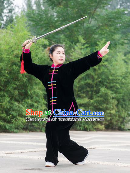 Traditional Chinese Top Pleuche Kung Fu Costume Martial Arts Kung Fu Training Colorful Plated Buttons Black Uniform, Tang Suit Gongfu Shaolin Wushu Clothing, Tai Chi Taiji Teacher Suits Uniforms for Women