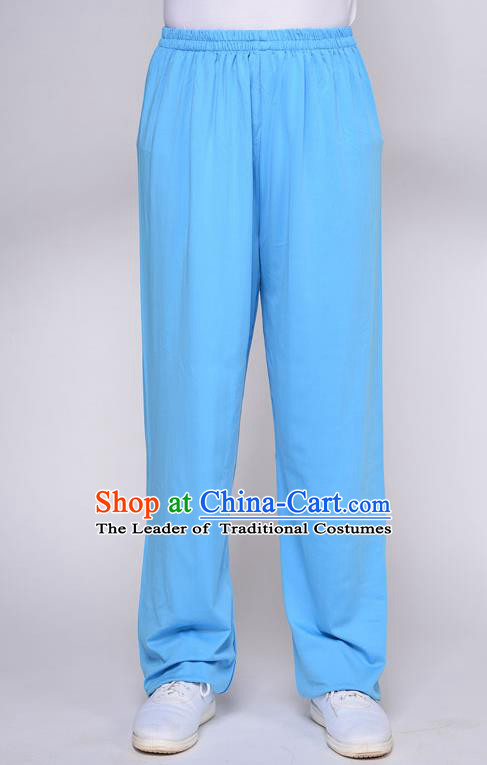 Traditional Chinese Top QMilch Kung Fu Costume Martial Arts Kung Fu Training Blue Pants, Tang Suit Gongfu Shaolin Wushu Plus Fours, Tai Chi Taiji Teacher Trousers for Women for Men