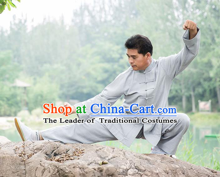 Traditional Chinese Top Tencel Ramie Kung Fu Costume Martial Arts Kung Fu Training Plated Buttons Uniform, Tang Suit Gongfu Shaolin Wushu Clothing, Tai Chi Taiji Teacher Suits Uniforms for Men