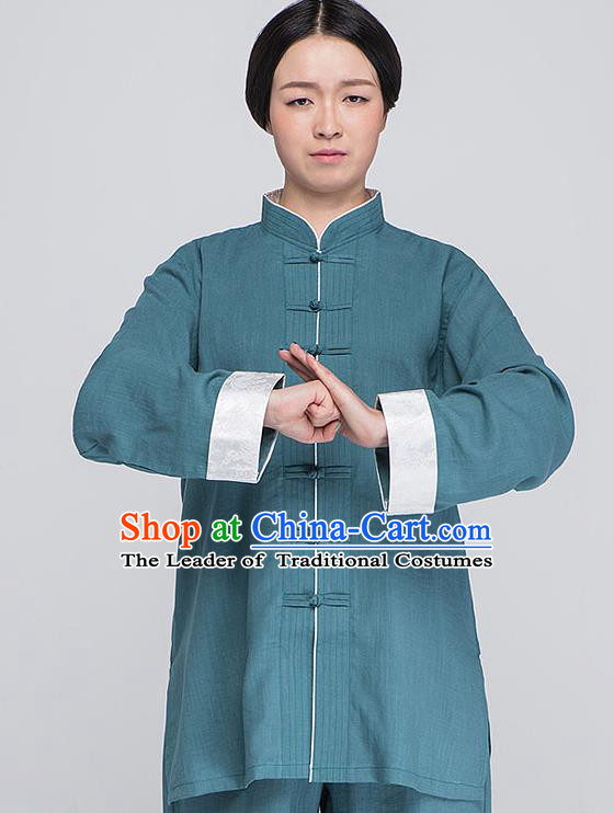 Traditional Chinese Top Linen Kung Fu Costume Martial Arts Kung Fu Training Plated Buttons Roll Sleeve Blue Uniform, Tang Suit Gongfu Shaolin Wushu Clothing, Tai Chi Taiji Teacher Suits Uniforms for Women