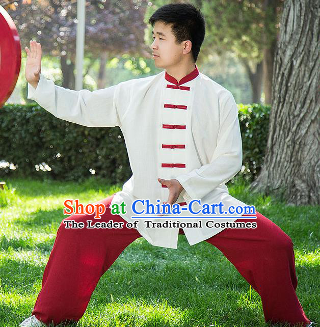 Traditional Chinese Top Linen Kung Fu Costume Martial Arts Kung Fu Training Red Plated Buttons White Uniform, Tang Suit Gongfu Shaolin Wushu Clothing, Tai Chi Taiji Teacher Suits Uniforms for Men
