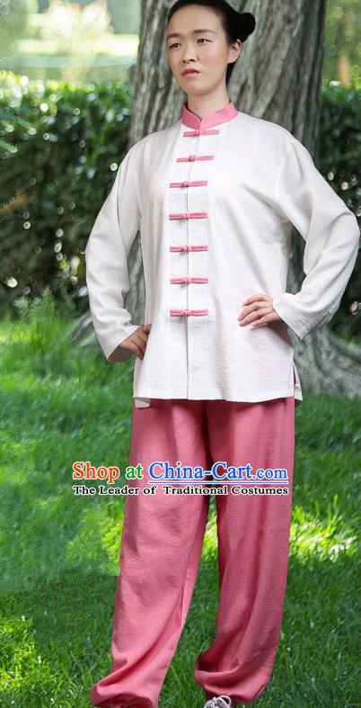 Traditional Chinese Top Linen Kung Fu Costume Martial Arts Kung Fu Training Red Plated Buttons White Uniform, Tang Suit Gongfu Shaolin Wushu Clothing, Tai Chi Taiji Teacher Suits Uniforms for Women