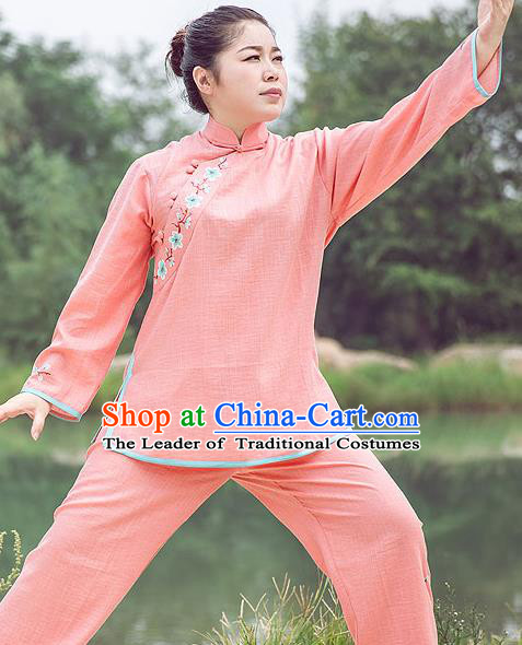 Traditional Chinese Top Gastrodia Kung Fu Costume Martial Arts Kung Fu Training Plated Buttons Hand Painted Plum Blossom Pink Uniform, Tang Suit Gongfu Shaolin Wushu Clothing, Tai Chi Taiji Teacher Suits Uniforms for Women