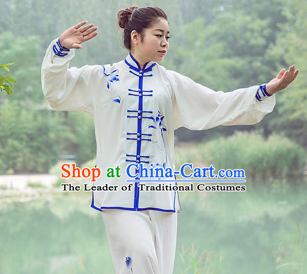 Traditional Chinese Top Gastrodia Kung Fu Costume Martial Arts Kung Fu Training Plated Buttons Blue and White Lotus Uniform, Tang Suit Gongfu Shaolin Wushu Clothing, Tai Chi Taiji Teacher Suits Uniforms for Women