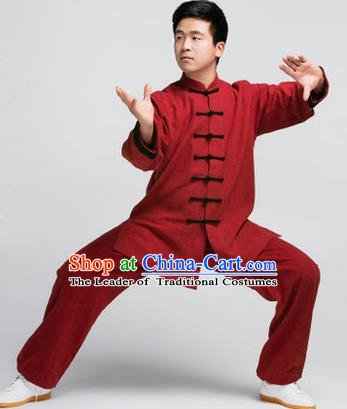 Traditional Chinese Top Muscle Hemp Kung Fu Costume Martial Arts Kung Fu Training Red Uniform, Tang Suit Gongfu Shaolin Wushu Clothing, Tai Chi Taiji Teacher Suits Uniforms for Men