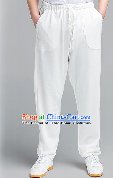 Traditional Chinese Top Muscle Hemp Kung Fu Costume Martial Arts Kung Fu Training White Pants, Tang Suit Gongfu Shaolin Wushu Plus Fours, Tai Chi Taiji Teacher Trousers for Men