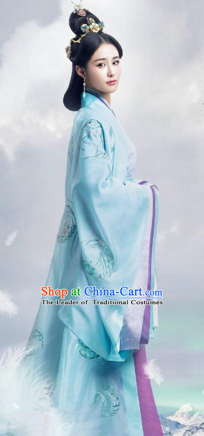 Traditional Ancient Chinese Imperial Consort Costume, Elegant Hanfu Dress Clothing, Chinese Warring States Period Imperial Empress Tailing Embroidered Clothing for Women