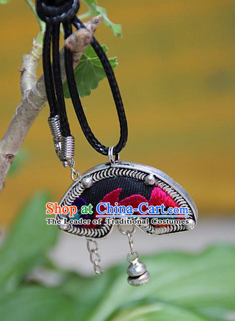 Traditional Chinese Miao Nationality Crafts, Hmong Handmade Miao Silver Embroidery Pendant, Miao Ethnic Minority Necklace Accessories Bell Pendant for Women