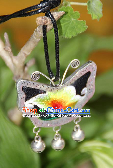 Traditional Chinese Miao Nationality Crafts, Hmong Handmade Miao Silver Embroidery Butterfly Pendant, Miao Ethnic Minority Necklace Accessories Bells Pendant for Women