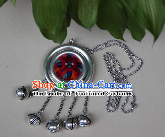 Traditional Chinese Miao Nationality Crafts, Hmong Handmade Miao Silver Embroidery Round Bells Tassel Pendant, Miao Ethnic Minority Necklace Accessories Bells Pendant for Women