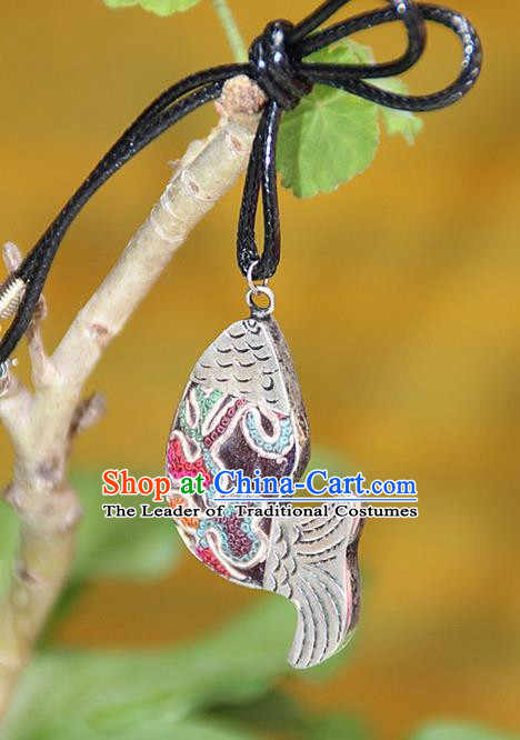 Traditional Chinese Miao Nationality Crafts, Hmong Handmade Miao Silver Embroidery Pendant, Miao Ethnic Minority Necklace Fish Accessories Pendant for Women