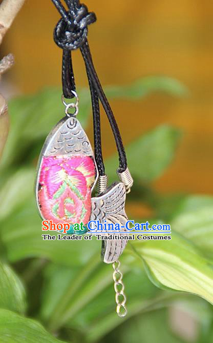 Traditional Chinese Miao Nationality Crafts, Hmong Handmade Miao Silver Embroidery Pink Pendant, Miao Ethnic Minority Necklace Fish Accessories Pendant for Women
