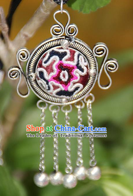Traditional Chinese Miao Nationality Crafts, Hmong Handmade Miao Silver Embroidery Bells Tassel Pendant, Miao Ethnic Minority Necklace Accessories Bells Pendant for Women