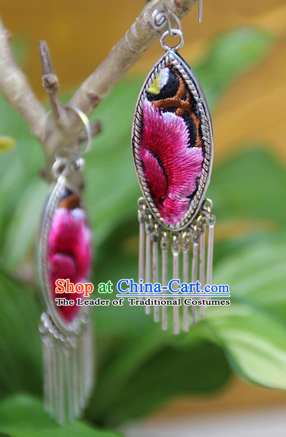 Traditional Chinese Miao Nationality Crafts, Hmong Handmade Miao Silver Embroidery Flowers Tassel Earrings, Miao Ethnic Minority Eardrop Accessories Ear Pendant for Women