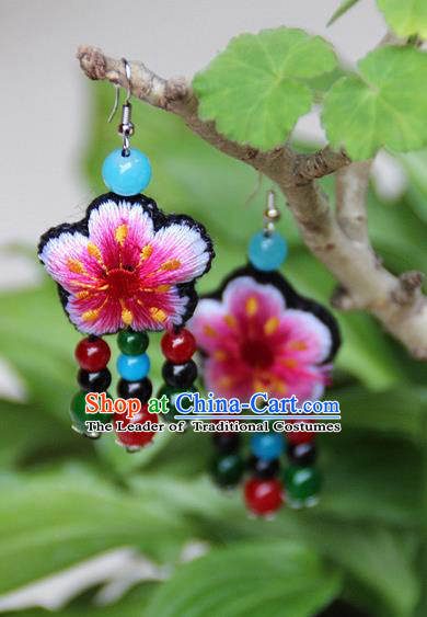 Traditional Chinese Miao Nationality Crafts, Hmong Handmade Embroidery Beads Tassel Earrings, Miao Ethnic Minority Eardrop Accessories Ear Pendant for Women