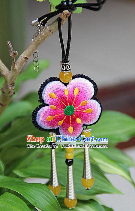 Traditional Chinese Miao Nationality Crafts Jewelry Accessory, Hmong Handmade Miao Silver Embroidery Pink Flowers Yellow Beads Tassel Pendant, Miao Ethnic Minority Necklace Accessories Pendant for Women