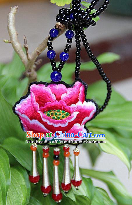 Traditional Chinese Miao Nationality Crafts Jewelry Accessory, Hmong Handmade Double Side Embroidery Red Beads Tassel Pendant, Miao Ethnic Minority Necklace Accessories Sweater Chain Pendant for Women