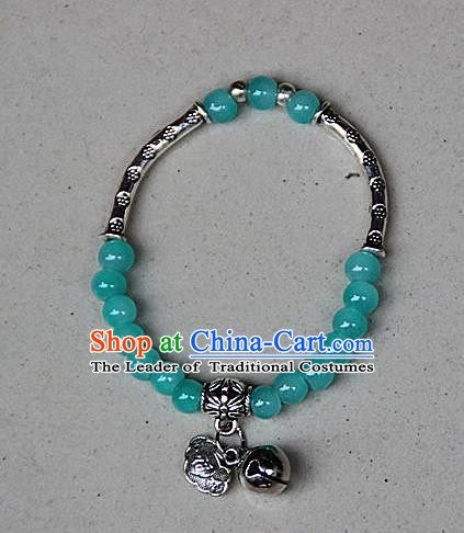 Traditional Chinese Miao Nationality Crafts Jewelry Accessory Bangle, Hmong Handmade Miao Silver Blue Beads Bracelet, Miao Ethnic Minority Bells Longevity Lock Bracelet Accessories for Women