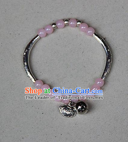 Traditional Chinese Miao Nationality Crafts Jewelry Accessory Bangle, Hmong Handmade Miao Silver Pink Beads Bracelet, Miao Ethnic Minority Bells Longevity Lock Bracelet Accessories for Women