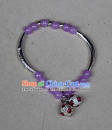 Traditional Chinese Miao Nationality Crafts Jewelry Accessory Bangle, Hmong Handmade Miao Silver Purple Beads Bracelet, Miao Ethnic Minority Bells Bracelet Accessories for Women