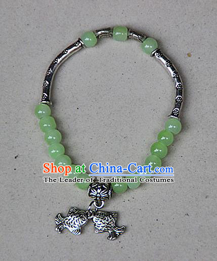 Traditional Chinese Miao Nationality Crafts Jewelry Accessory Bangle, Hmong Handmade Miao Silver Light Green Beads Bracelet, Miao Ethnic Minority Double Fish Bracelet Accessories for Women