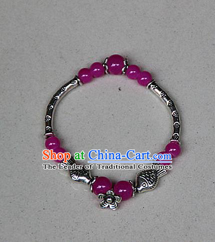 Traditional Chinese Miao Nationality Crafts Jewelry Accessory Bangle, Hmong Handmade Miao Silver Rose Beads Bracelet, Miao Ethnic Minority Bracelet Accessories for Women