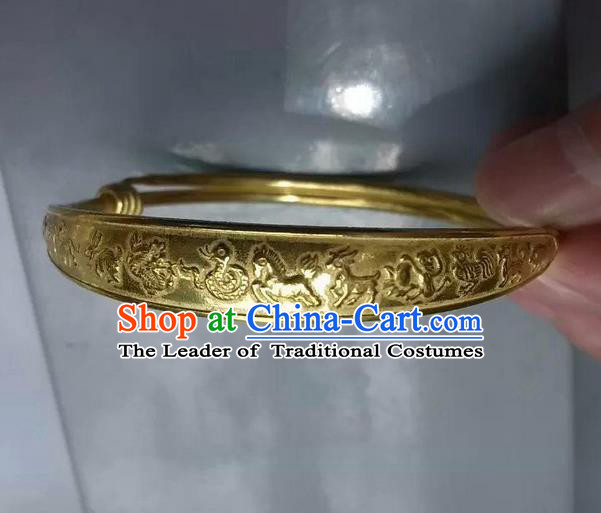 Traditional Chinese Miao Nationality Crafts Jewelry Accessory Bangle, Hmong Handmade Miao Fine Bopper Bracelet, Miao Ethnic Minority Chinese Zodiac Bracelet Accessories for Women