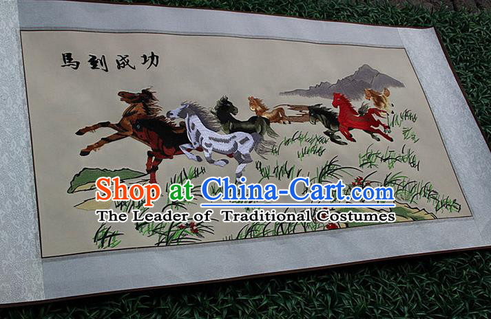 Traditional Chinese Miao Nationality Minority Crafts Hmong Xiangxi Embroidery Decorative Paintings, Embroidery Horse Meaning Success Scroll Painting for Friends