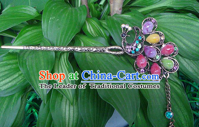 Traditional Chinese Miao Ethnic Minority Palace Hair Jewelry Accessories, Hmong Handmade Flowers Hairpins, Miao Ethnic Jewelry Accessories Hair Claw for Women