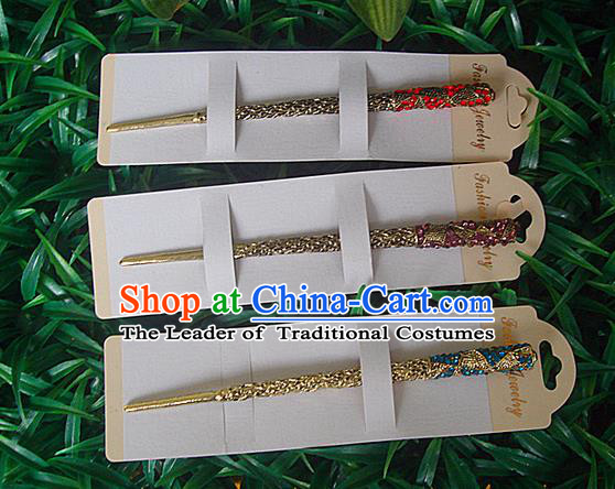 Traditional Chinese Miao Ethnic Minority Palace Hair Jewelry Accessories, Hmong Handmade Crystal Hairpins, Miao Ethnic Jewelry Accessories Hair Claw for Women