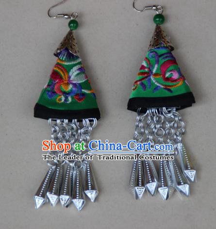 Traditional Chinese Miao Ethnic Minority Palace Jewelry Accessories Long Tassels Embroidery Earrings, Hmong Handmade Earrings for Women