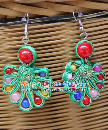 Traditional Chinese Miao Ethnic Minority Palace Jewelry Accessories Satin Earrings, Hmong Handmade Earrings for Women