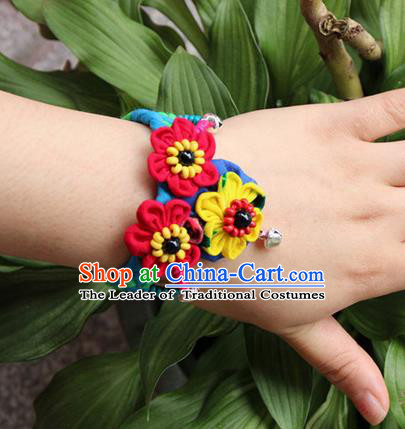 Traditional Chinese Miao Ethnic Minority Palace Jewelry Accessories Wristbands Bracelet, Hmong Handmade Bells Bracelet for Women